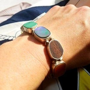 Jewelry - Silvertone Stretchy Gemstone Bracelet, OSFM